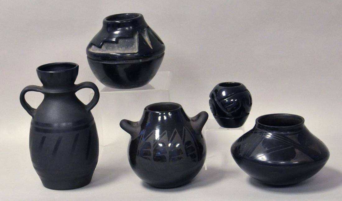 5pc Native American Black Pottery, Santa Clara Pueblo