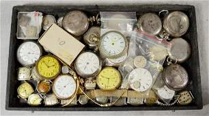 Lot of pocket watches, wristwatches, cases, & more