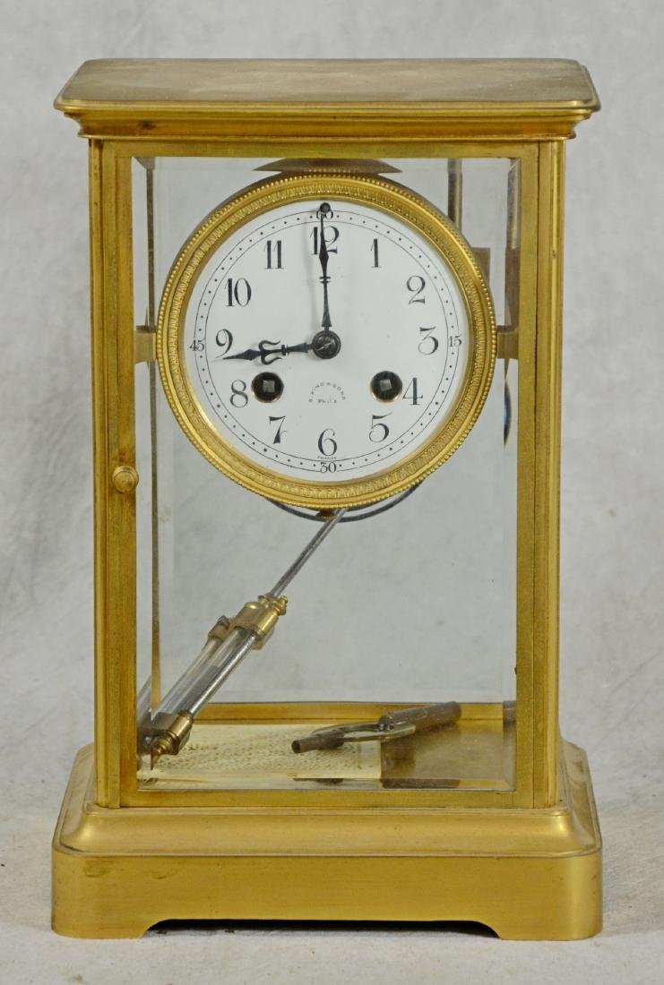 French crystal regulator clock in brass case