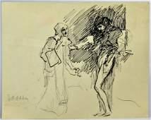 Edwin Austin Abbey Pen & Ink Drawing