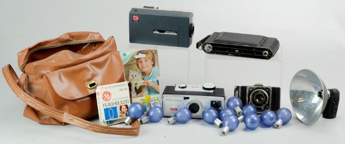 (3) Vintage Still Cameras & Kodak Movie Camera