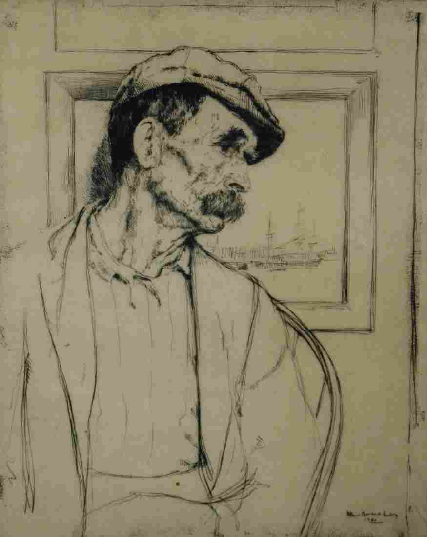 """William Auerbach Levy Etching, """"Cape Cod Fisherman"""""""