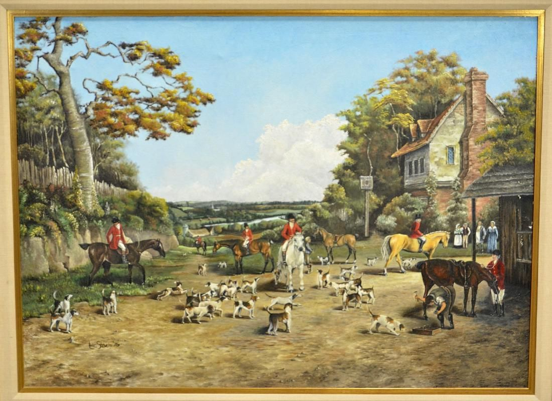 Reproduction Painting of an English Hunting Scene