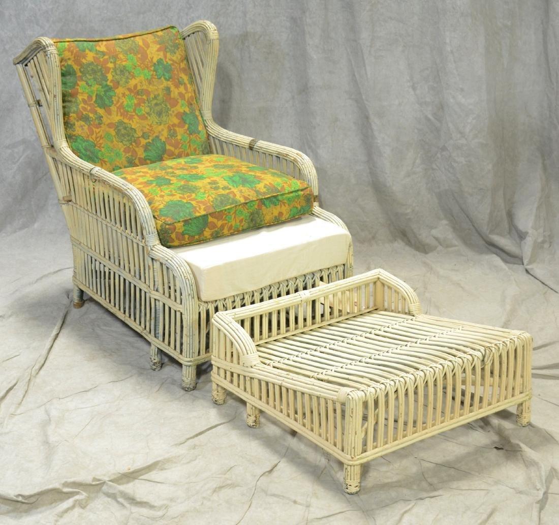 Wicker lounge chair & ottoman