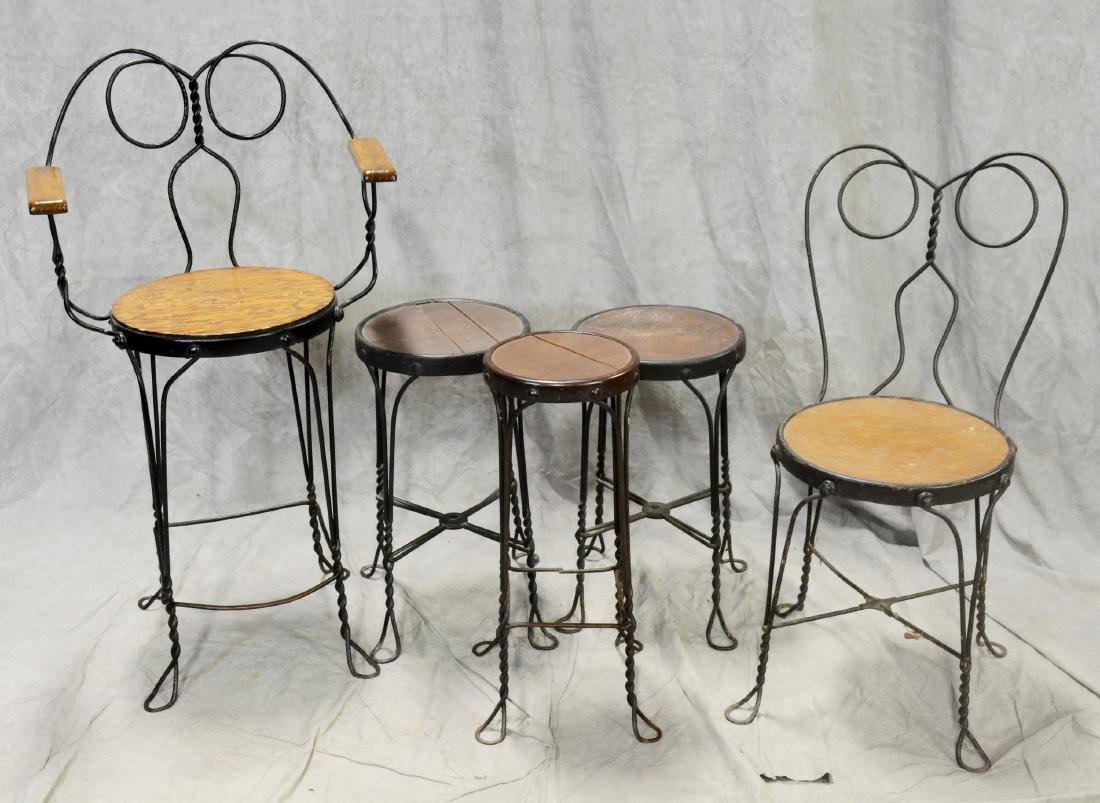 (5) twisted metal stools
