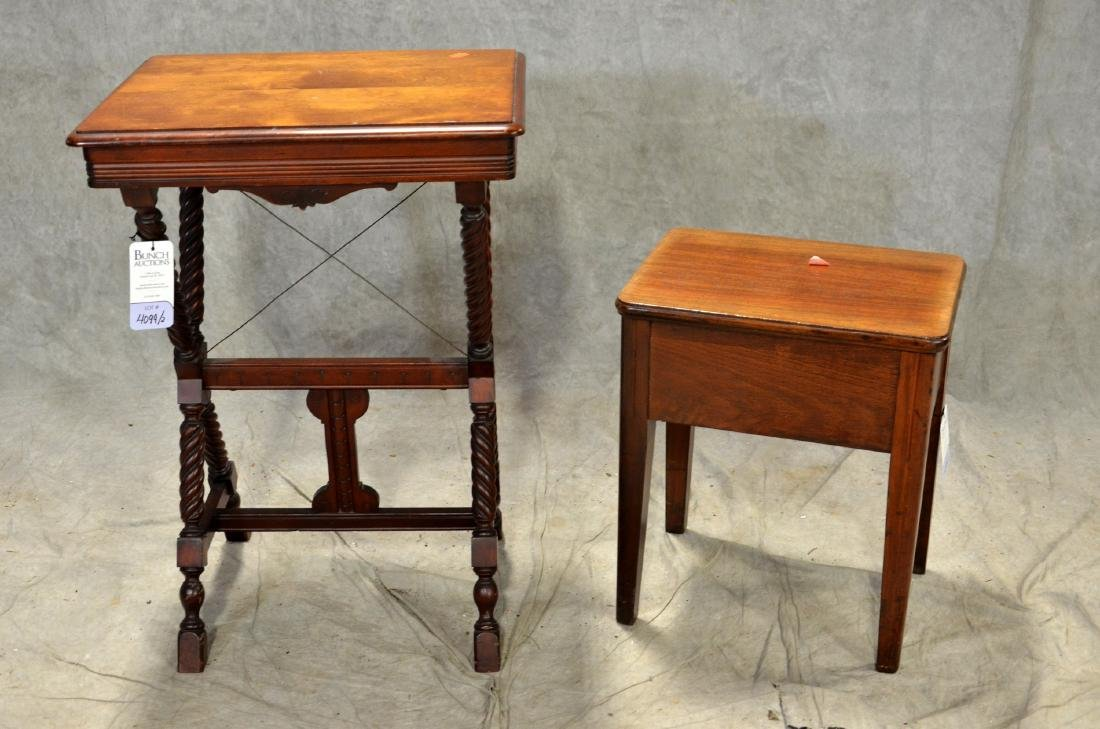 Walnut Victorian lamp table, sewing stand