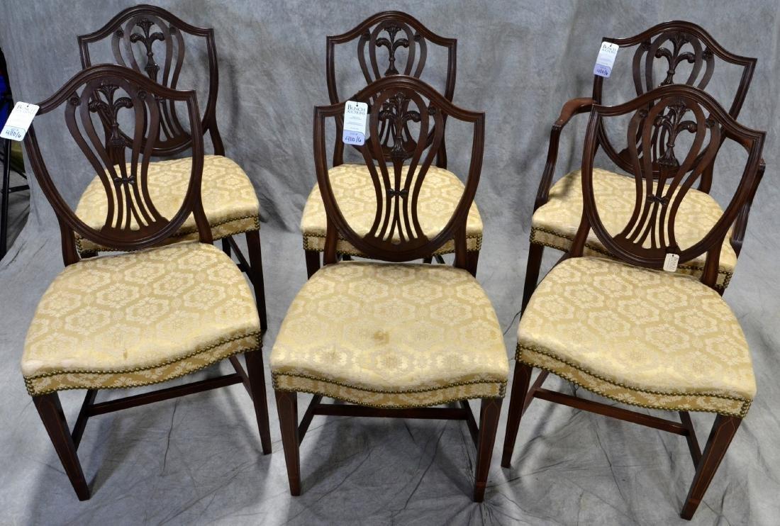 (6) solid mahogany shield back dining chairs