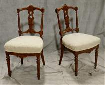 Pr carved walnut Victorian side chairs