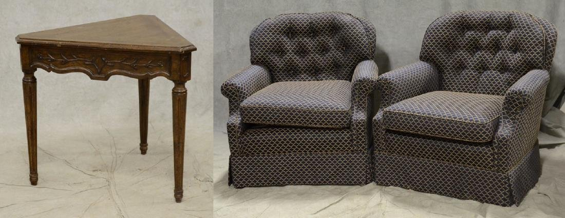 (2) Contemporary tufted lounge chairs & table