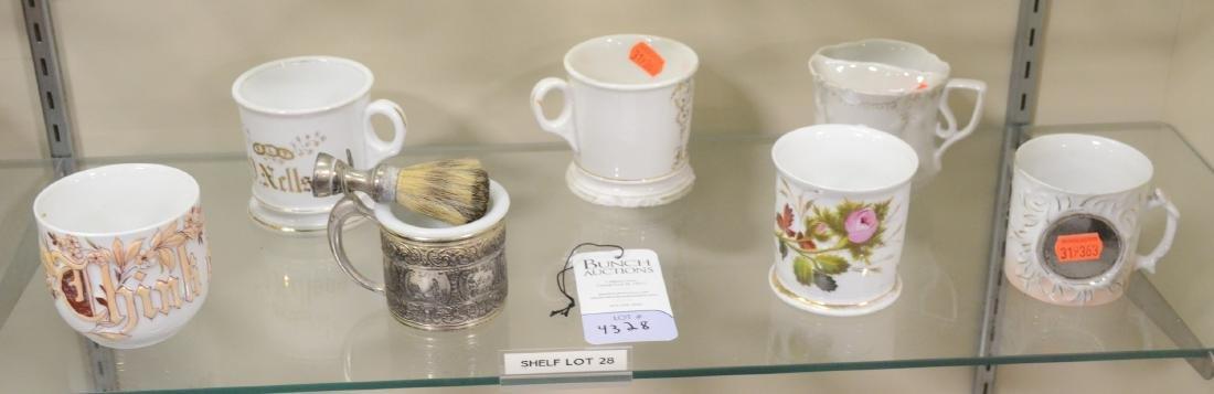 Shelf #28 - (7)  Mustache Shaving Cups