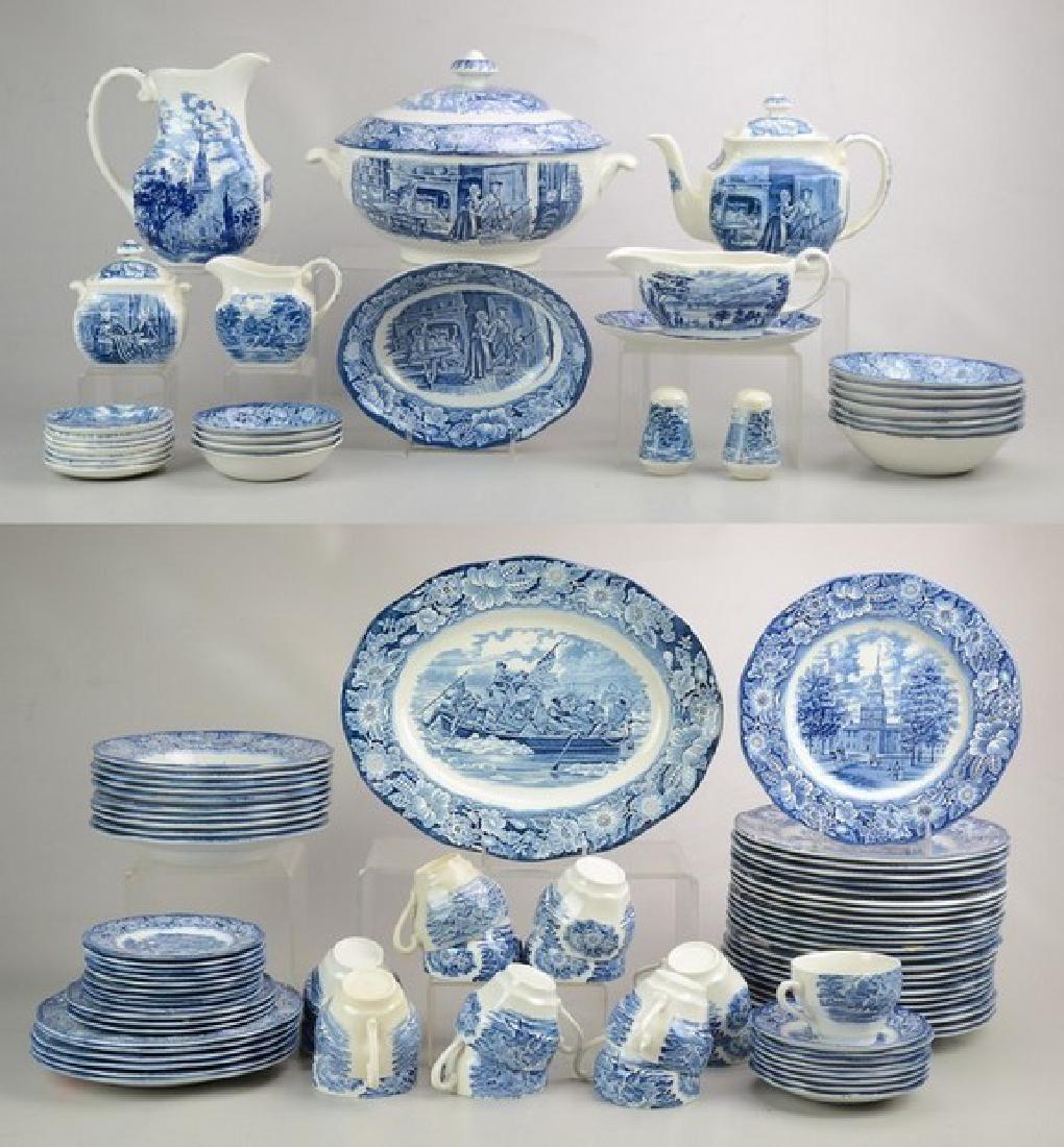 (102) Pcs Staffordshire Liberty Blue Dinnerware