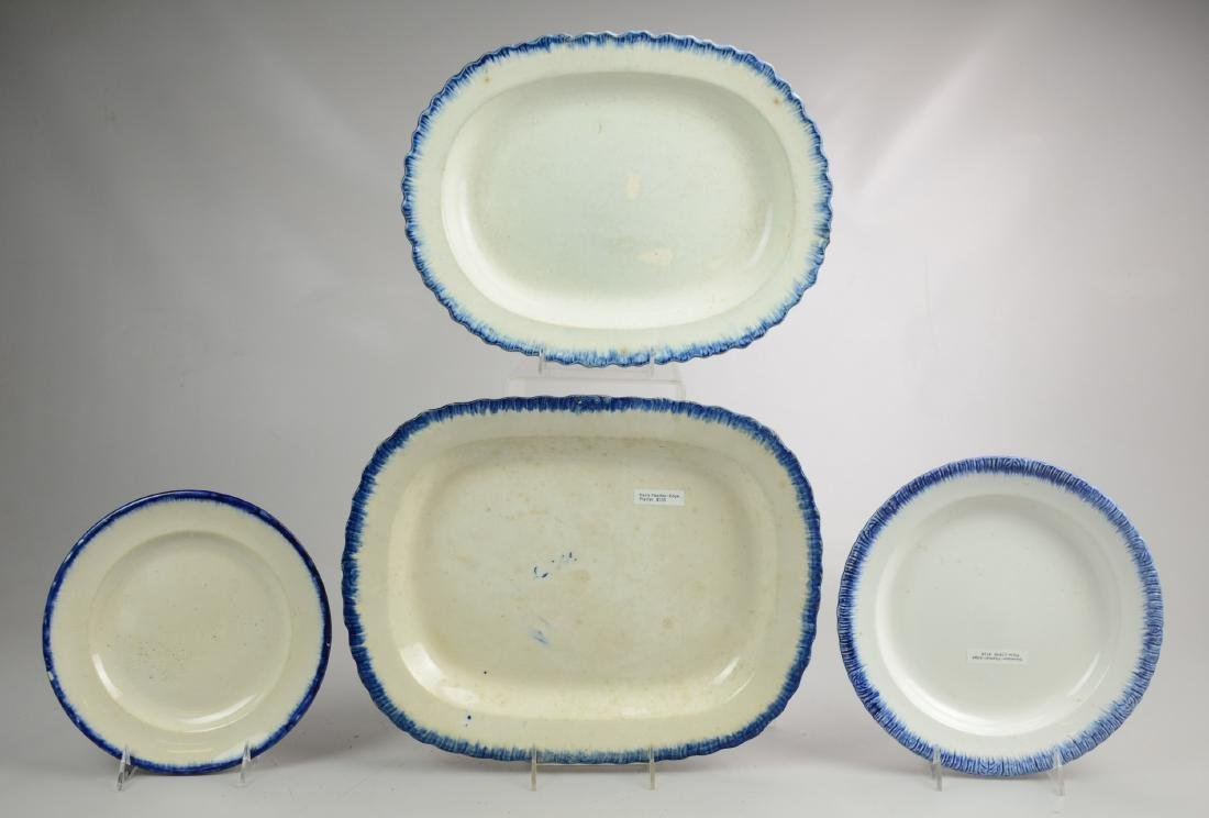 (2) Feather Edge Platters & (2) Plates