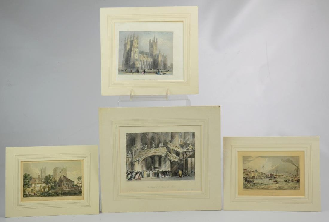 (4) hand-colored engravings on paper