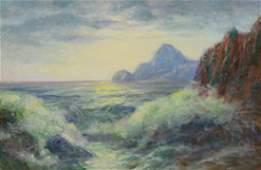 20th C American Impressionist Coastal Seascape Painting