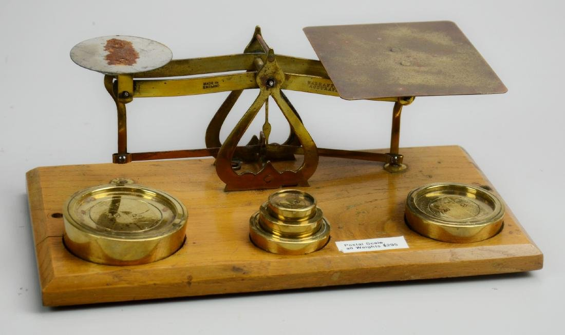 English Brass Postal Scale with Weights
