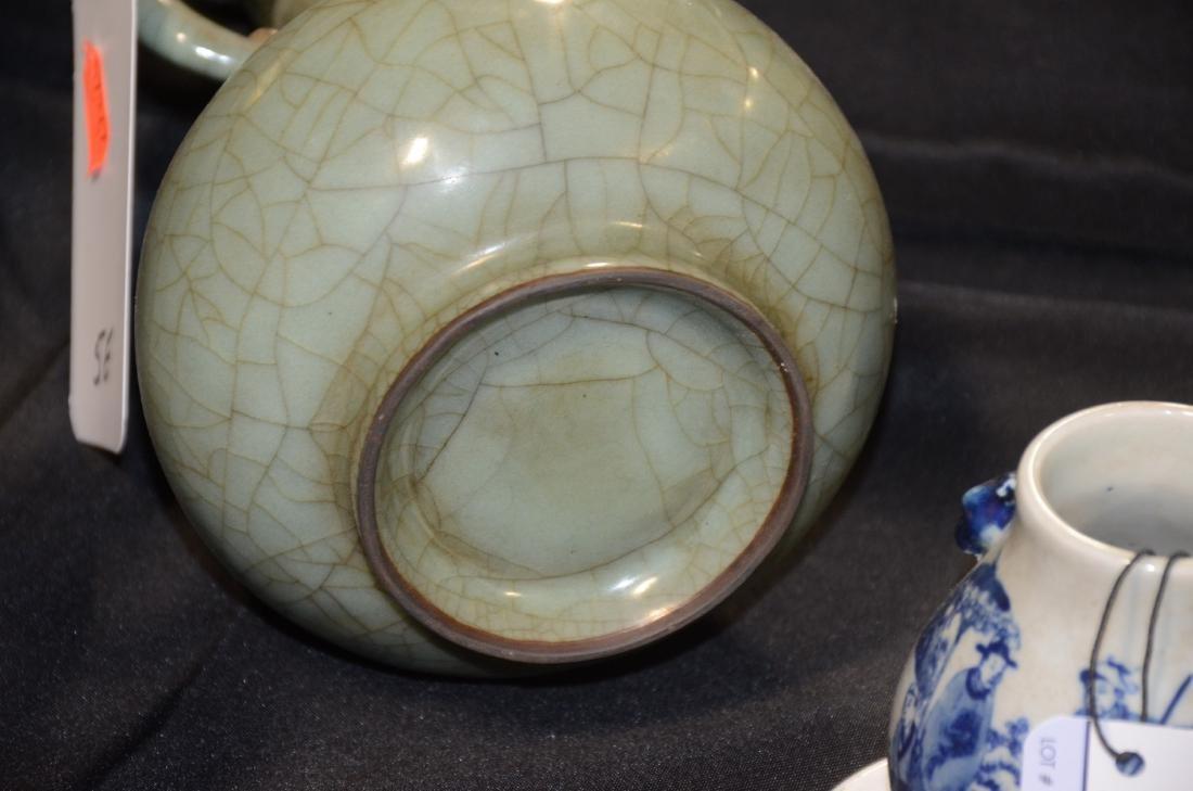 Chinese celadon pottery crackle glaze vase - 5