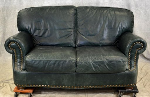 Sensational Green Leather Loveseat Gmtry Best Dining Table And Chair Ideas Images Gmtryco