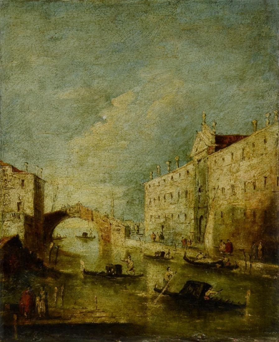 18th C Italian School Venetian Harbor Scene Painting