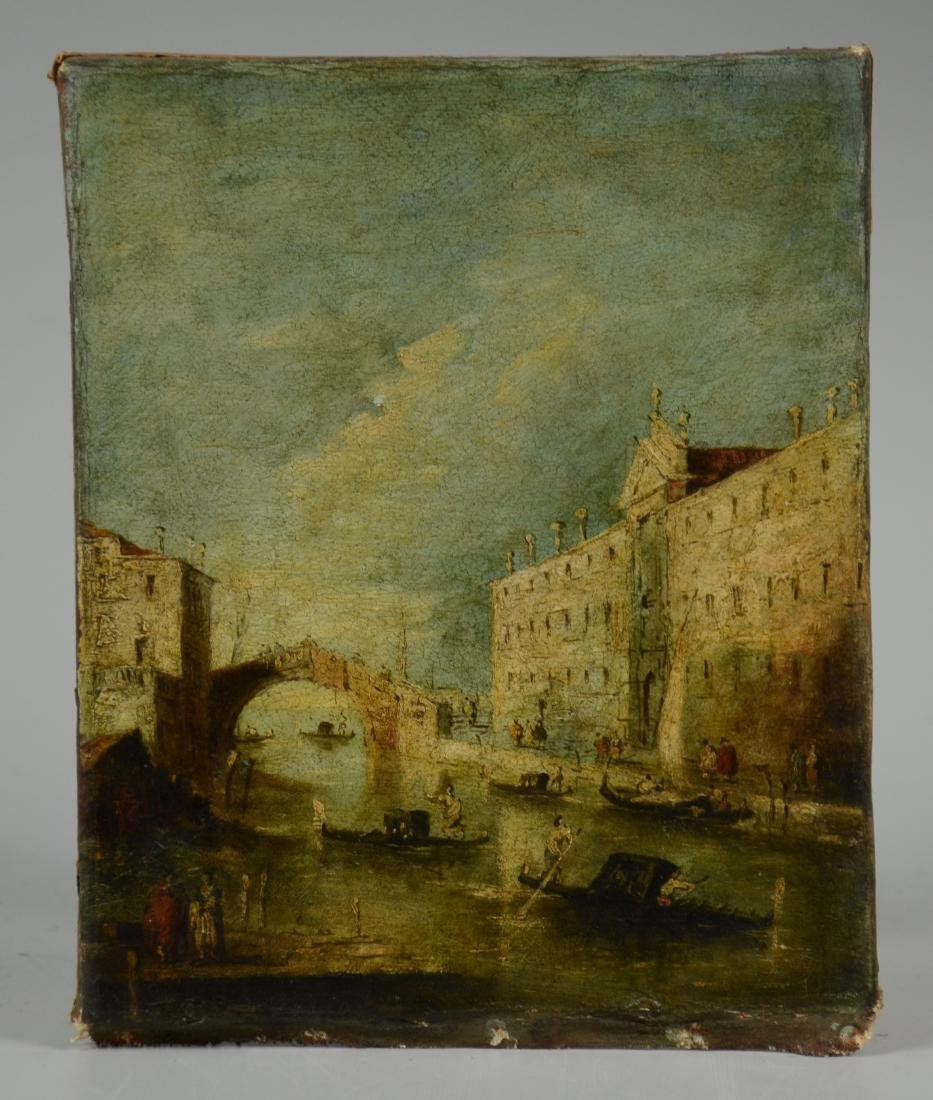 18th C Italian School Venetian Harbor Scene Painting - 4