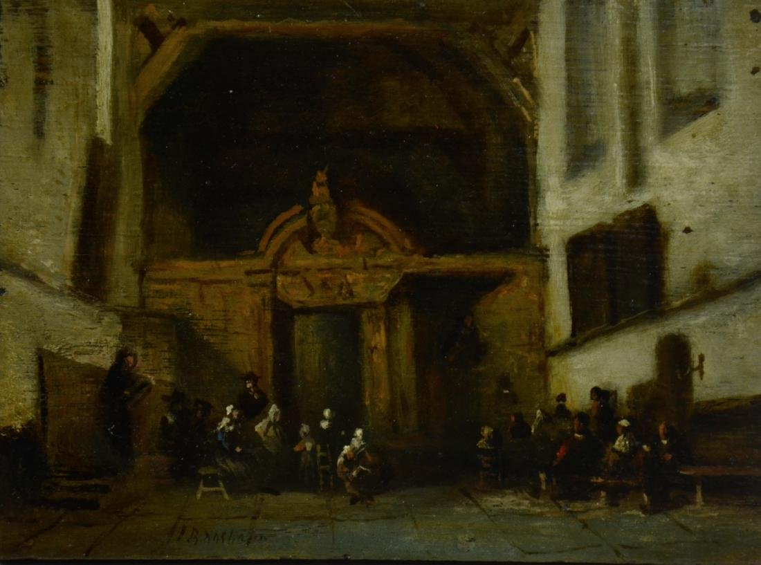 Early Dutch School Painting of Church Interior