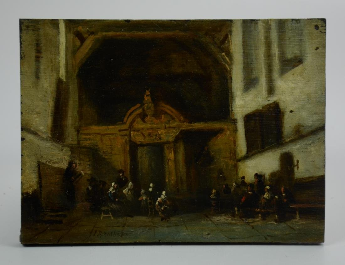 Early Dutch School Painting of Church Interior - 2