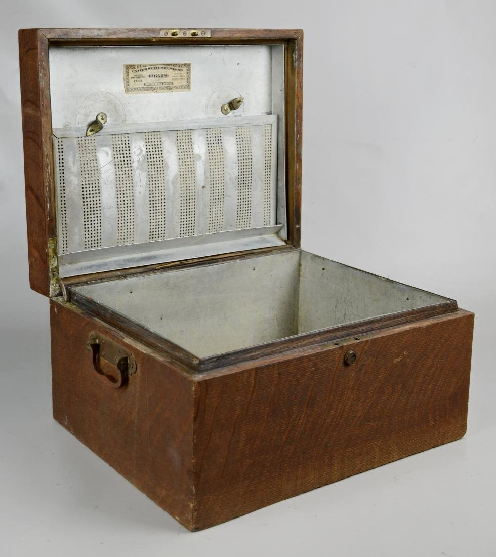 Huge Antique Oak Humidor with Brass Hardware with Metal - 2