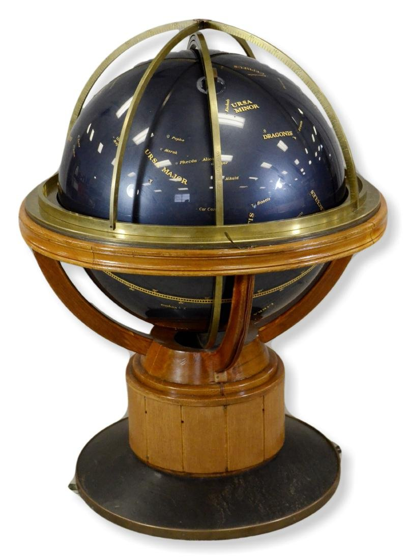 Celestial Floor Globe on Bronze and Oak Stand