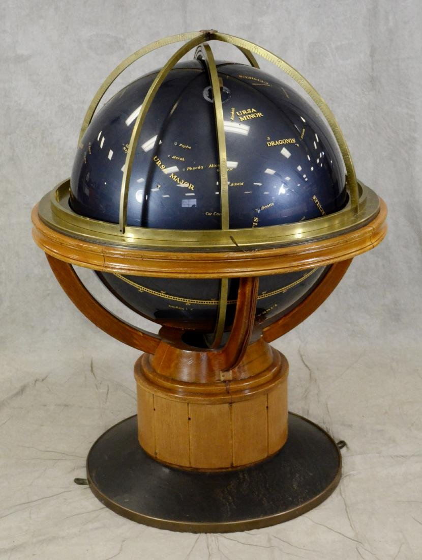 Celestial Floor Globe on Bronze and Oak Stand - 2