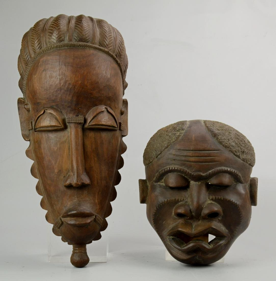 (2) Carved Wood African Masks by Masanga