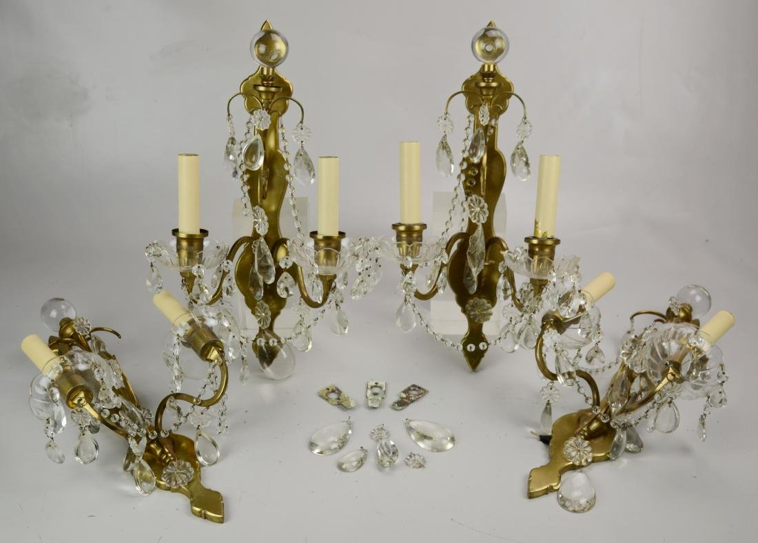 (4) brass and crystal wall sconces