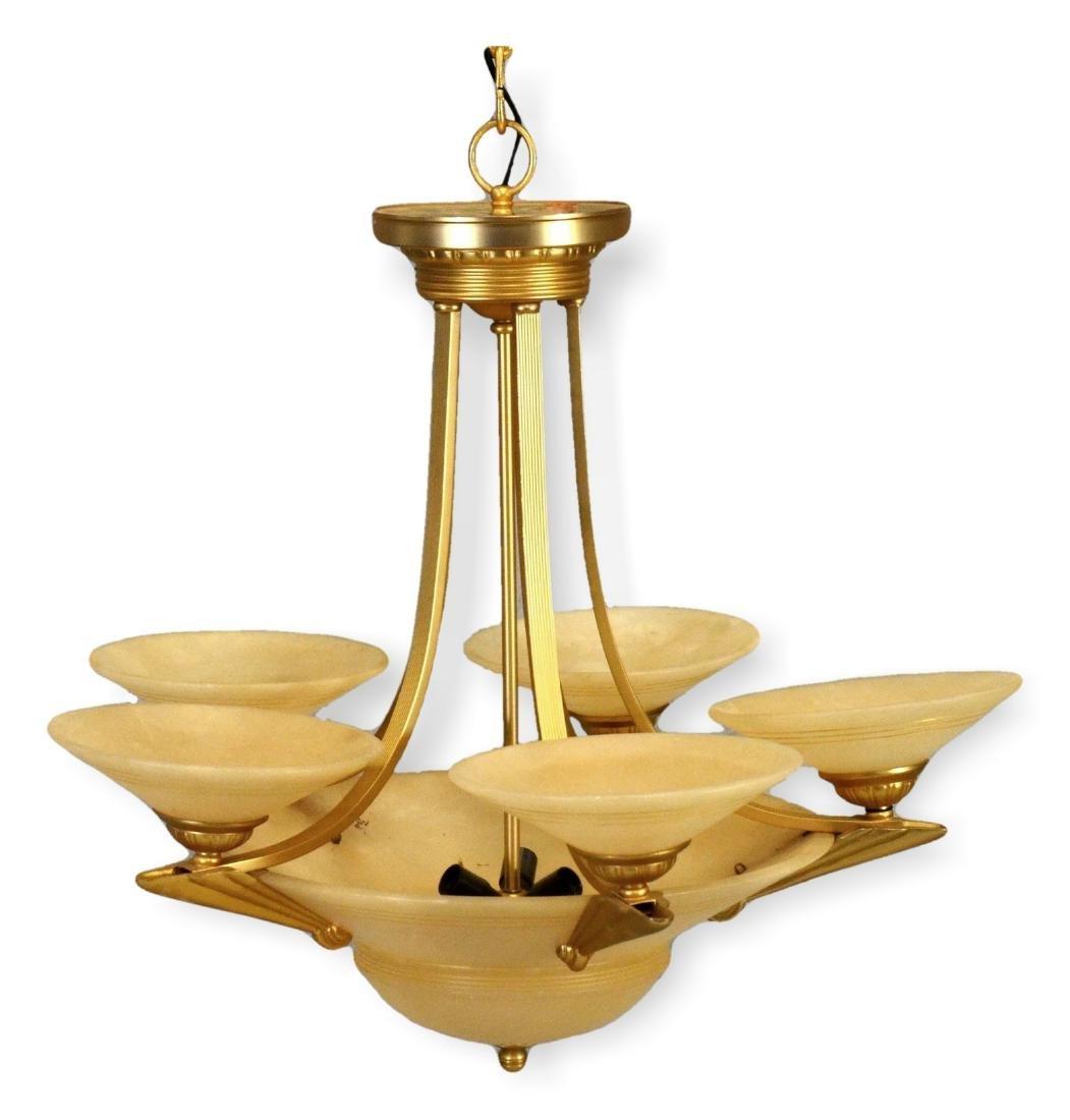 Deco style brass & glass chandelier