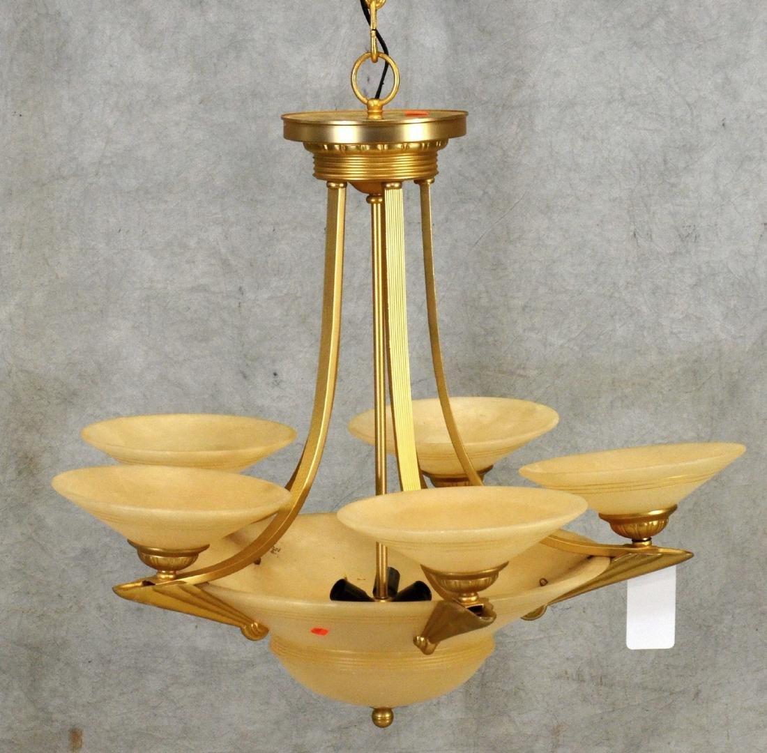 Deco style brass & glass chandelier - 2
