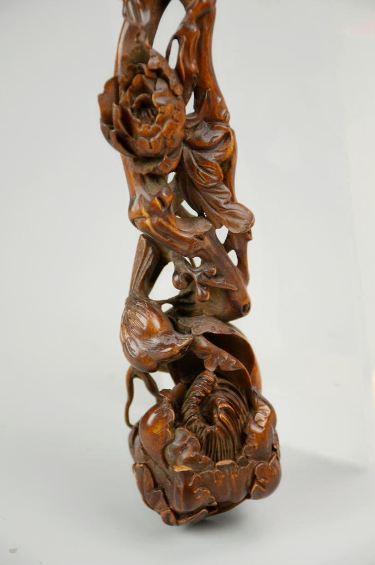 Chinese deeply carved wood ruyi - 2