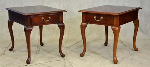 Pair Thomasville Queen Anne Style End Tables