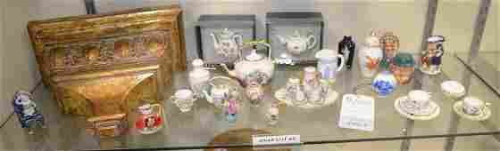 Shelf 63  Lot of Porcelain Miniatures  Wall Shelf