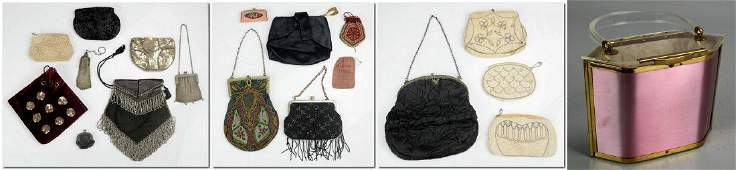 (18) Vintage Mesh, Lucite, Beaded, Leather and Satin