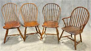 Assembled set of (4) 9 spindle bowback Windsor chairs