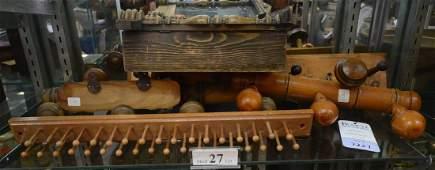 Shelf #27 - (5) Wood Clothing Items