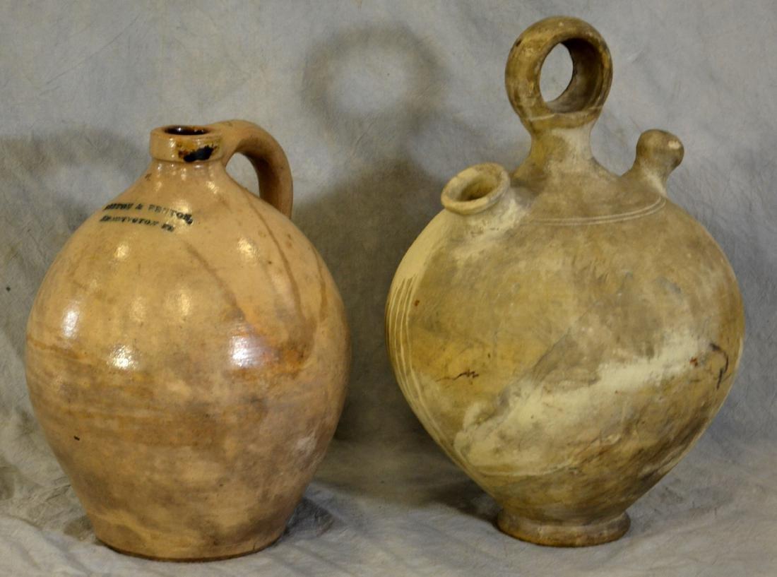 (1) Norton and Fenton Stoneware Jug, (1) Ceramic Water