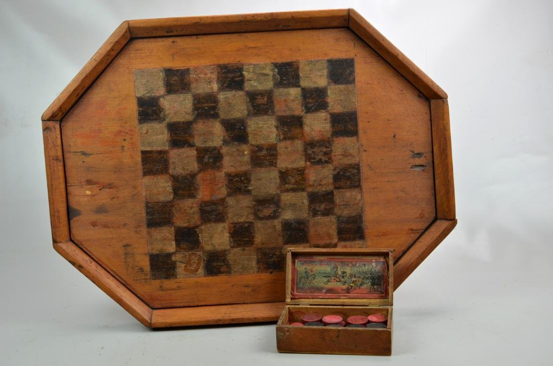 Hand Painted Checkers/Chess Board