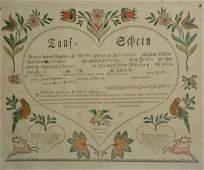 Samuel Baumann taufschein c 1788 handcolored fraktur