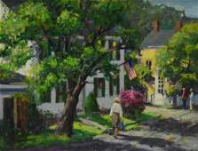 """Mosher, Donald, oil on canvas """"Spring on Main Street,"""