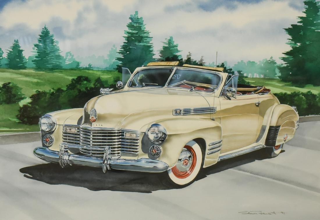 """Faust, Shawn, watercolor """"Cadillac Convertible"""""""