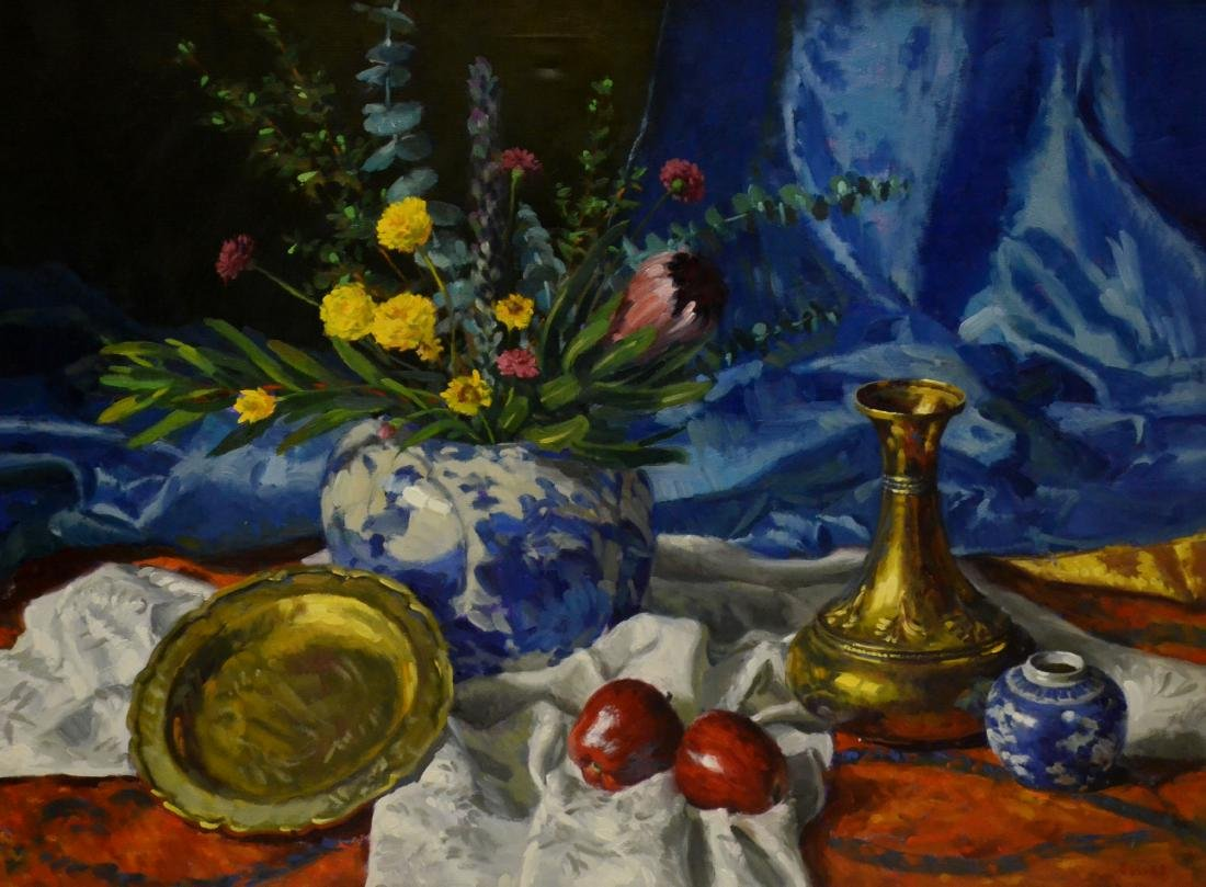"""Hull, Gregory, oil on canvas """"Blue Silk and Apples"""""""