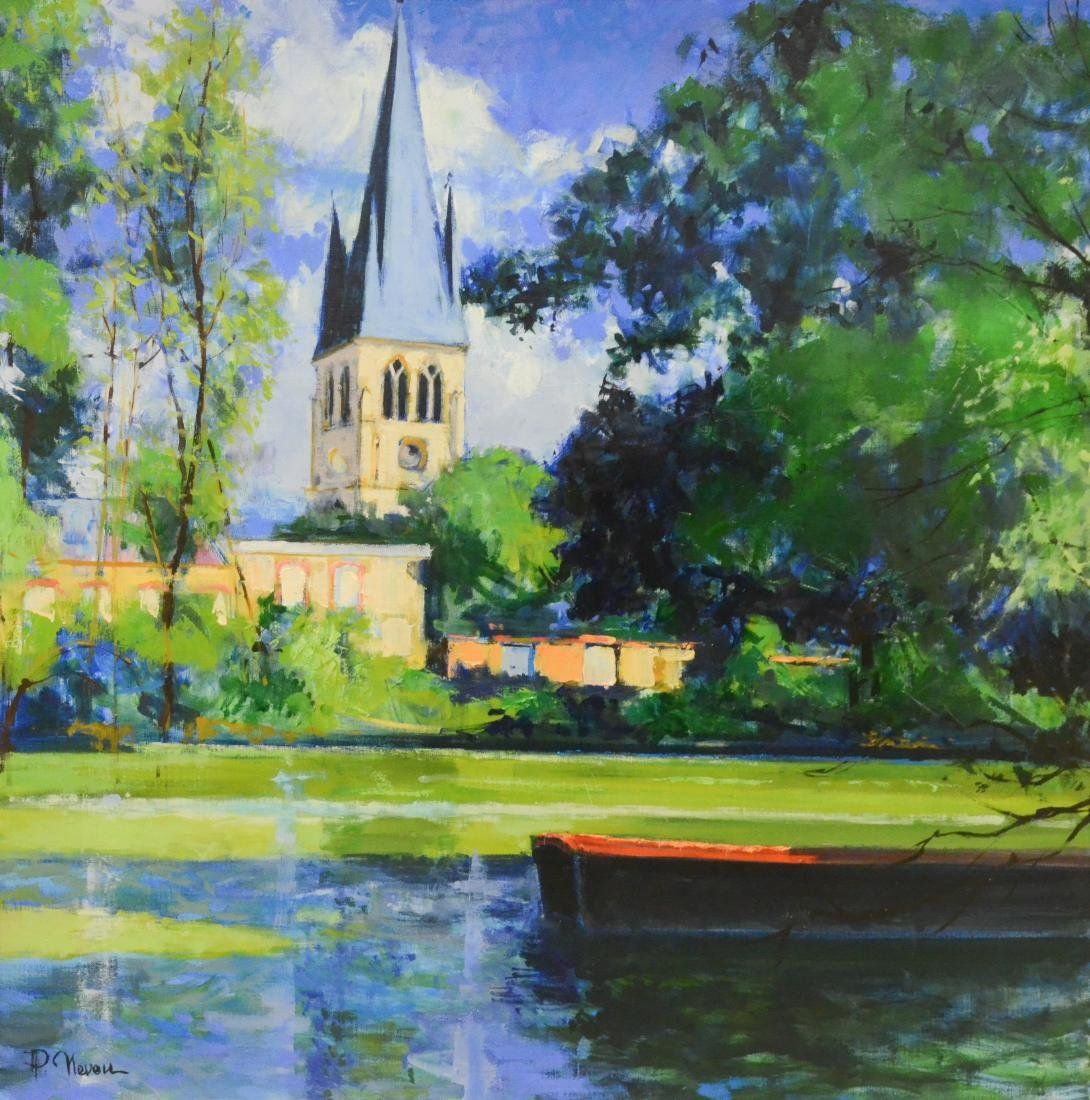 """Neveu, Pierre, oil on canvas """"Bords de Marne a Tours"""