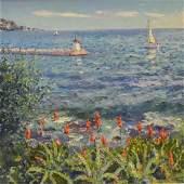 Bittar Pierre oil on canvas Paysage a Beaulieu