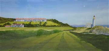 """Newnam, Thomas A., watercolor on paper """"Turnberry Golf"""