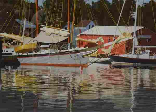 "Newnam, Thomas A., watercolor ""Arden Head Marina"""