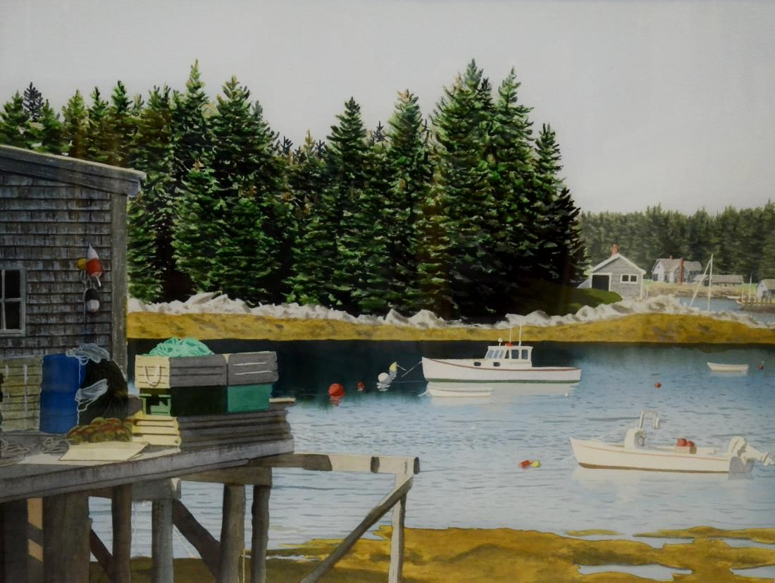 """Newnam, Thomas A., watercolor """"Port Clyde-looking over"""