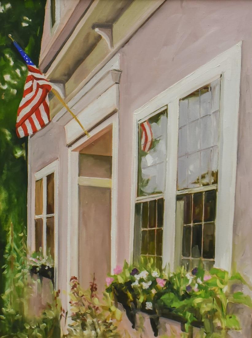 "Lesher, Carol Horgan, oil on canvas ""American Flag over"